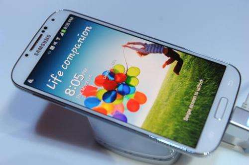 Samsung's Galaxy S4 smartphone pictured during its unveiling at Radio City Music Hall in New York on March 14, 2013