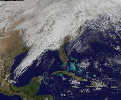 Satellite image shows eastern US severe weather system