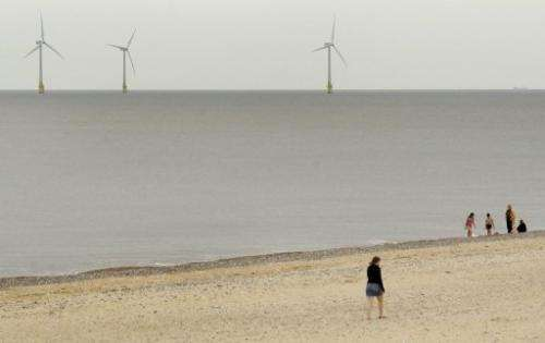 Scroby Sands wind farm off the coast of Norfolk, England, on August 27, 2008