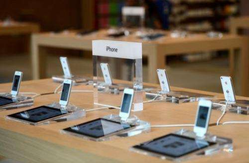 Smartphones are on display at am Apple store in Strasbourg, France, on September 15, 2012