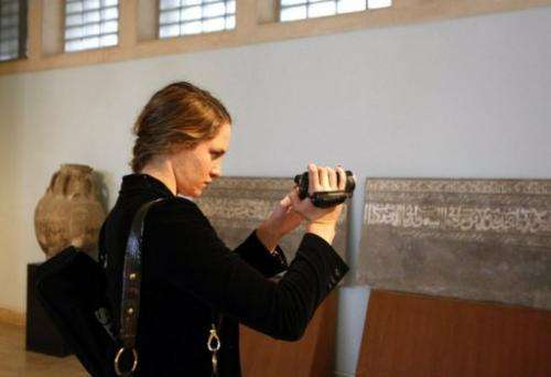 Sophie, daughter of Google chief Eric Schmidt, is pictured at the National Museum in Baghdad on November 24, 2009