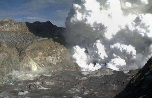 Steam rising from the White Island Volcano off the North Island's Bay of Plenty on August 20, 2013