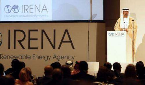 Sultan Ahmed al-Jaber addresses the General Assembly of IRENA in the Emirati capital Abu Dhabi on January 13, 2013