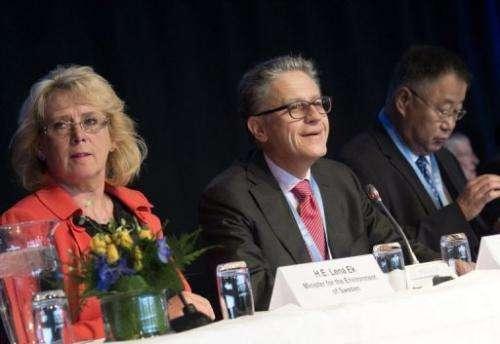 Swedish Environment Minister Lena Ek, Thomas Stocker and Dahe Qin of the IPCC in Stockholm, Sweden, September 23, 2013