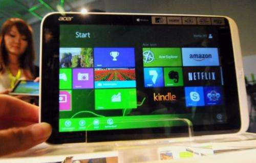The Acer Iconia W3 is displayed in Taipei on June 3, 2013