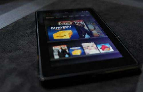 The Amazon Kindle Fire tablet is displayed at a press conference in New York on September 28, 2011