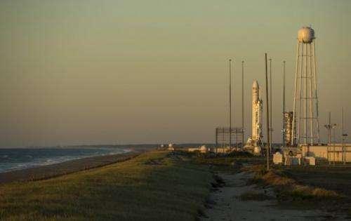 The Antares rocket stands at the NASA Wallops Flight Facility in Virginia on September 17, 2013