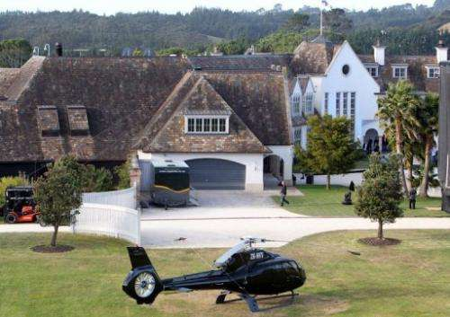 The Auckland mansion of Megaupload founder Kim Dotcom on January 20, 2013