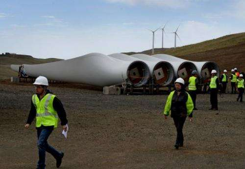 The blades of a soon-to-be-installed turbine at the Salkhit Mountain wind farm, June 4, 2013