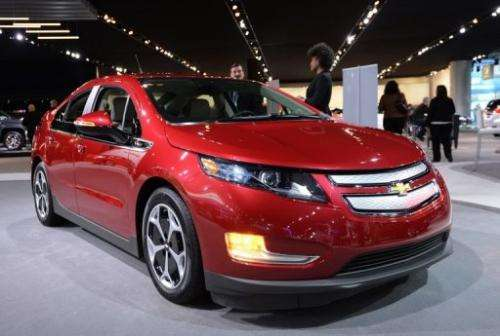 The Chevrolet Volt on display at the 2013 North American International Auto Show in Detroit, Michigan, January 15, 2013