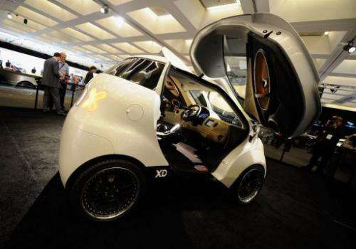 The Dok-ing XD electric car created by Vjekoslav Majetic is on display at the LA Auto Show on November 17, 2011