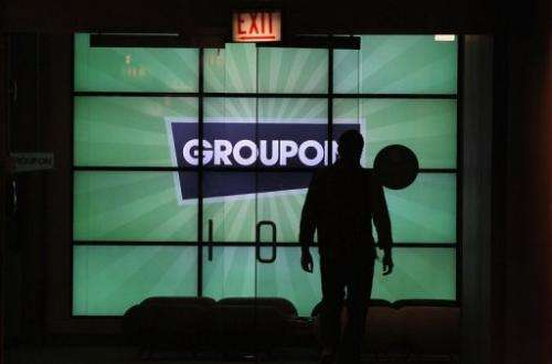 The Groupon logo is displayed in the lobby of the company's international headquarters on June 10, 2011 in Chicago