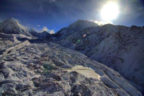 The Khumbu Glacier at Everest-Khumbu region on May 11, 2009, one of the longest glaciers in the world