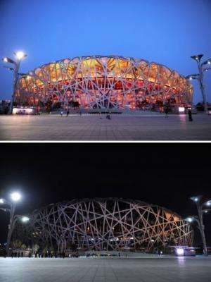 """The National Stadium in Beijing with the lights on (top) and off during the annual """"Earth Hour"""" on March 23, 2013"""