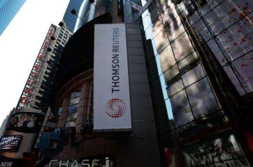 The new logo of Thomson Reuters is seen on their Times Square building on April 17, 2008 in New York.