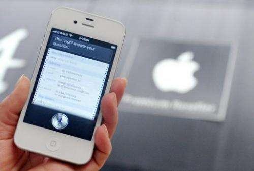 "The ""Siri"" digital personal assistant is displayed on an Apple iPhone 4S in Taipei on July  30, 2012"