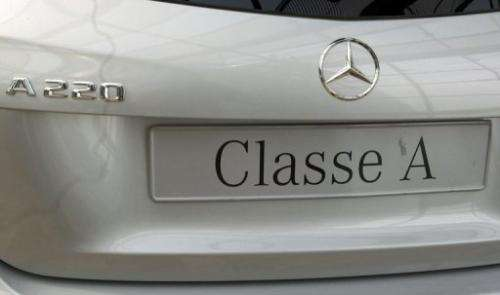 The rear of a Class A220 Mercedes car is pictured at a car dealer in Rueil-Malmaison, outside Paris on August 22,2013
