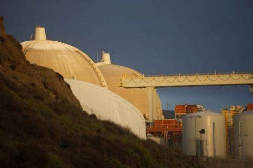 The San Onofre Nuclear Generating Station in San Clemente, California, is pictured on March 15, 2012