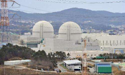 The Shin-Gori 3 and 4 reactors under construction in Gori near Busan on February 5, 2013