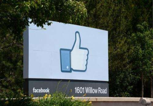 The sign at the entrance to the Facebook main campus in Menlo Park, California, May 15, 2012
