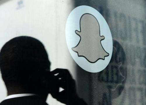 The Snapchat logo is seen at the front entrance to the messaging company's new headquarters in California, pictured November 14,