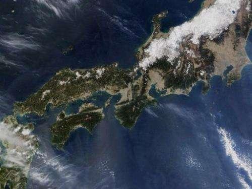 This NASA satellite image received on April 7, 2005 shows Shikoku island (bottom, left) western Japan