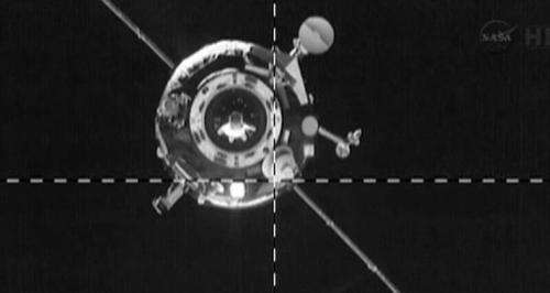 This NASA video image shows the ISS Progress 51 cargo craft arriving at the Zvezda service module on April 26, 2013