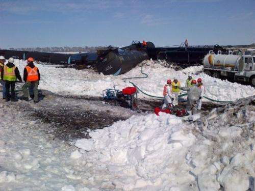 This photo released by the Minnesota Pollution Control Agency (MPCA) show a train derailment in Minnesota