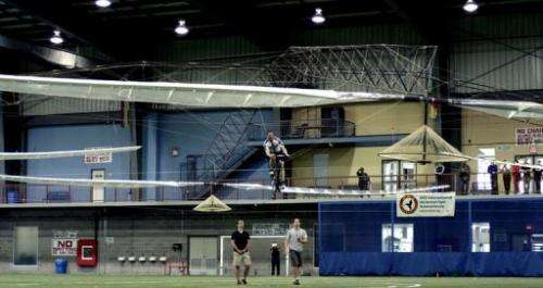 This photo shows AeroVelo's winning flight of the Igor I. Sikorsky Human Powered Helicopter Competition
