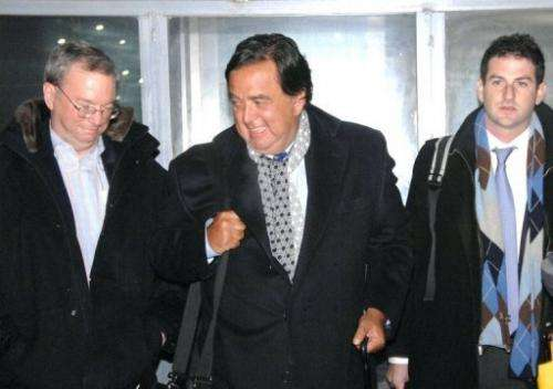 This picture taken by KCNA on January 7, 2013 shows Google chairman Eric Schmidt (L) upon arrival in Pyongyang