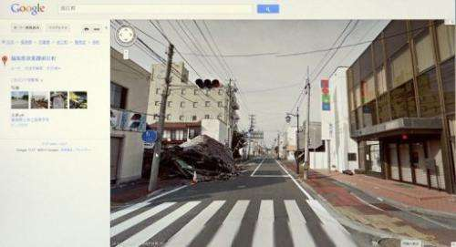 This screen shot from Google Street View taken on March 28, 2013 shows a street in Namie Town, Fukushima Prefecture