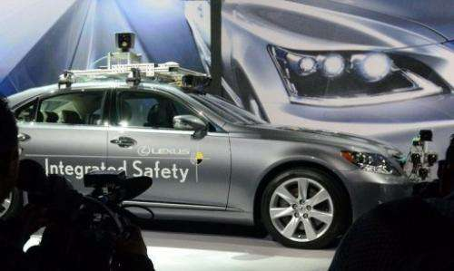 Toyota presents a Lexus automated car at the Consumer Electronics Show in Las Vegas on January 7, 2013