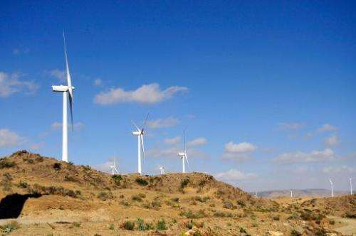 Turbines at Ashegoda wind farm in Ethiopia's northern Tigray region on November 28, 2013