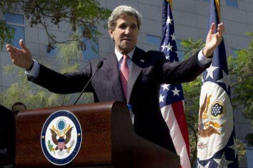 US Secretary of State John Kerry speaks at the US Embassy in Abu Dhabi on March 5, 2013