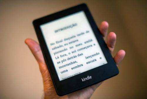 View of a Kindle reader in Sao Paulo, Brazil on March 15, 2013