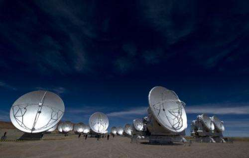 View of a radio telescope antennas of the ALMA project, in Atacama desert of nothern Chile, on March 12, 2013