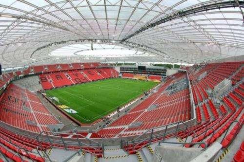 View of the BayArena stadium of Bundesliga football club Bayer Leverkusen in Leverkusen, on September 1, 2012