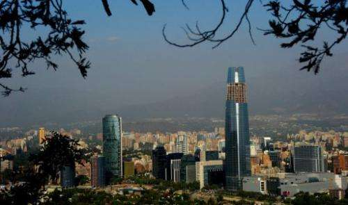 View of the main business district in the Chilean capital Santiago on November 20, 2012