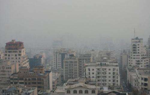 View taken from a vantage point in the north of Tehran shows the capital covered in smog on December 3, 2012