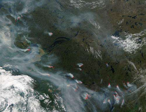 Wildfires in central Canada