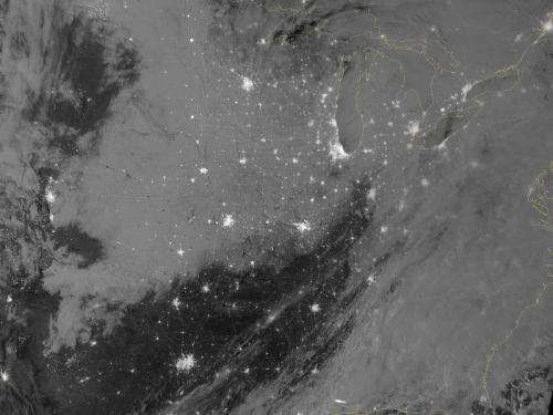Winter storm across central United States