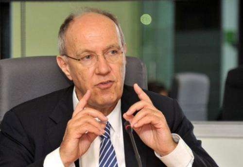 World Intellectual Property Organization (WIPO) director general Francis Gurry gives a briefing on March 23, 2012