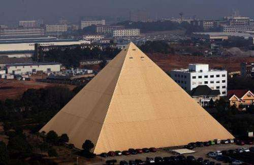 A 130-foot high pyramid built by Chinese multi-millionaire Zhang Yue is pictured on December 31, 2013 in Changsha, China's Hunan