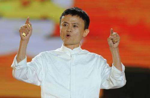 Alibaba founder Jack Ma speaks at an event to mark the 10th anniversary of China's most popular online shopping destination Taob