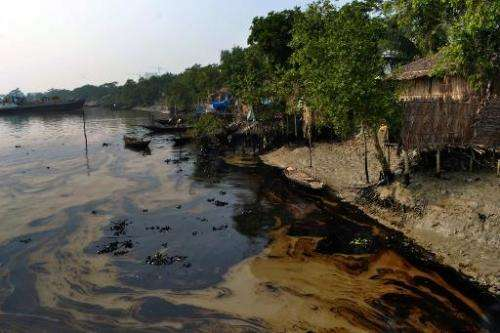An oil spill from a Bangladeshi oil-tanker is seen on the Shela River in Mongla on December 12, 2014