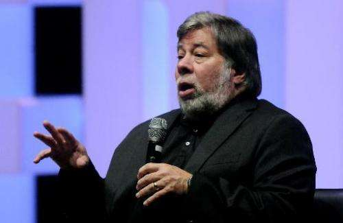 Apple co-founder Steve Wozniak speaks during an event in Medellin, Colombia, on August 2, 2014
