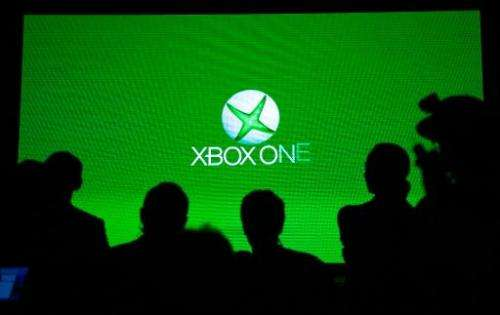 A screen shows the Xbox One logo during the presentation in Shanghai on July 30, 2014