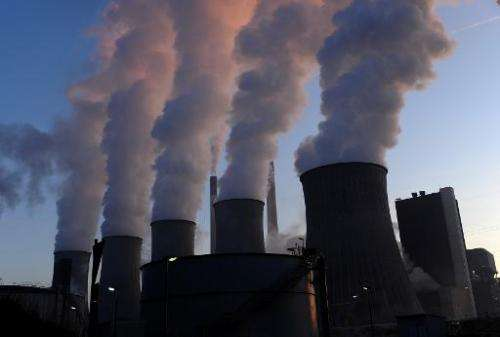 Cooling towers of E.ON's coal-fired power plant at Scholven in Gelsenkirchen, western Germany, on January 16, 2012