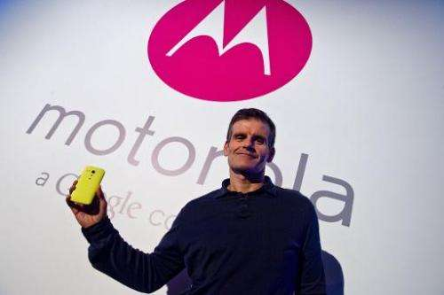 """Dennis Woodside, CEO of Motorola Mobility, introducesg the company's new low cost smartphone """"Motorola Moto G"""", in Sao"""