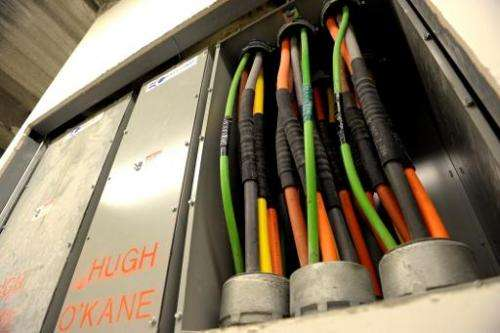 Fiber optic cables carrying Internet providers are pictured on March 20, 2013 in the Lower Manhattan area of New York